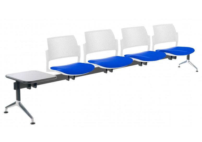 Bancada kyoto tapizada 4 asientos+mesa blanco