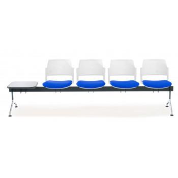 Bancada kyoto - Bancada sala de espera Kyoto tapizada 4 asientos+mesa blanco - Imagen 2