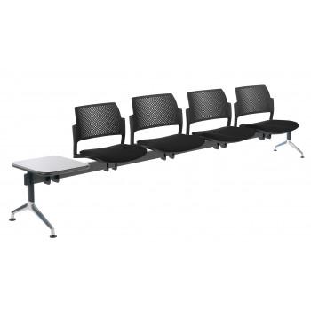 Bancada kyoto - Bancada sala de espera Kyoto tapizada 4 asientos+mesa negro - Imagen 1