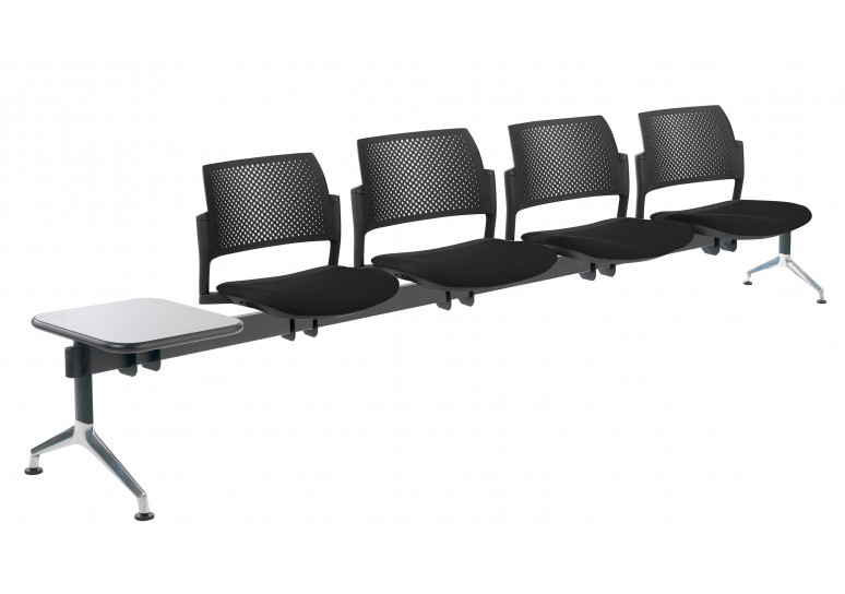 Bancada kyoto tapizada 4 asientos+mesa negro