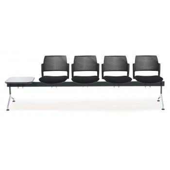 Bancada kyoto - Bancada sala de espera Kyoto tapizada 4 asientos+mesa negro - Imagen 2