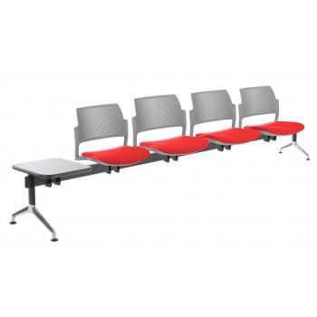 Bancada kyoto - Bancada sala de espera Kyoto tapizada 4 asientos+mesa gris - Imagen 1