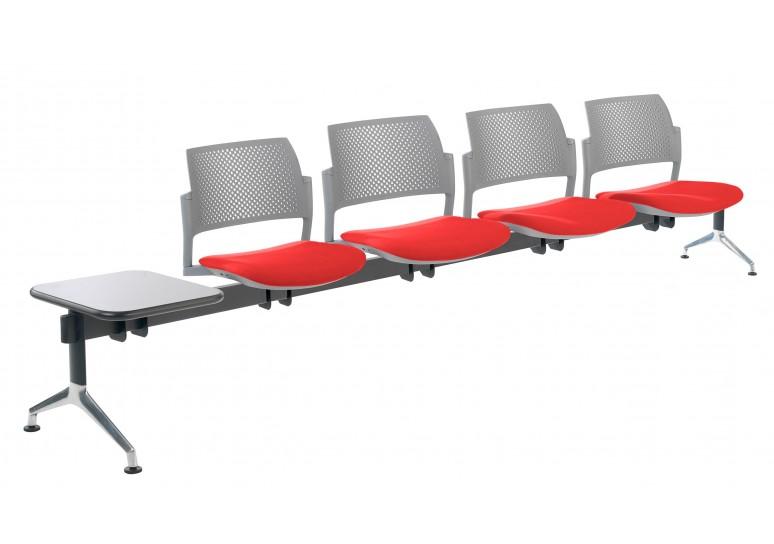 Bancada kyoto tapizada 4 asientos+mesa gris