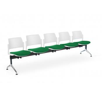 Bancada kyoto - Bancada sala de espera Kyoto tapizada 5 asientos blanco - Imagen 1