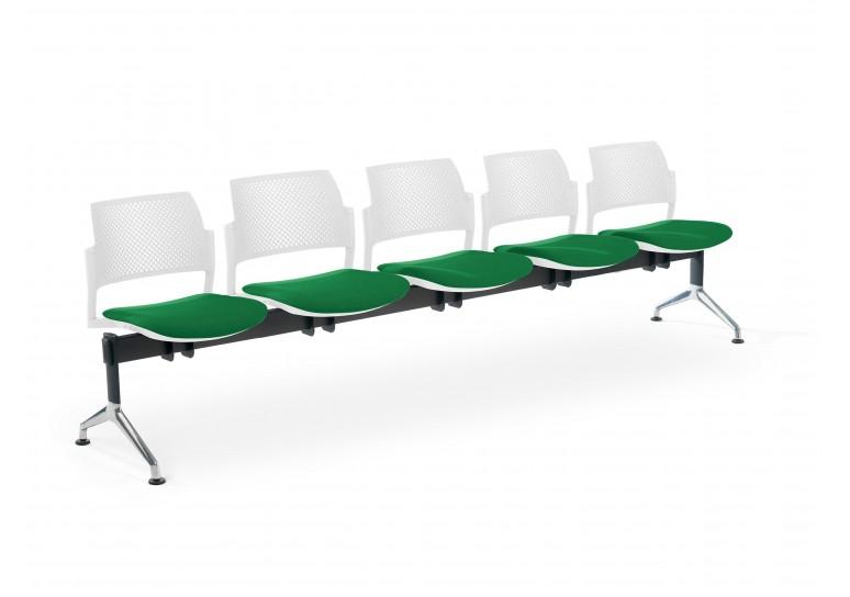 Bancada kyoto tapizada 5 asientos blanco