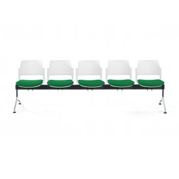 Bancada kyoto - Bancada sala de espera Kyoto tapizada 5 asientos blanco - Imagen 2