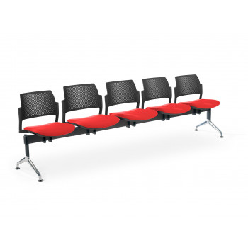 Bancada kyoto - Bancada sala de espera Kyoto tapizada 5 asientos negro - Imagen 1