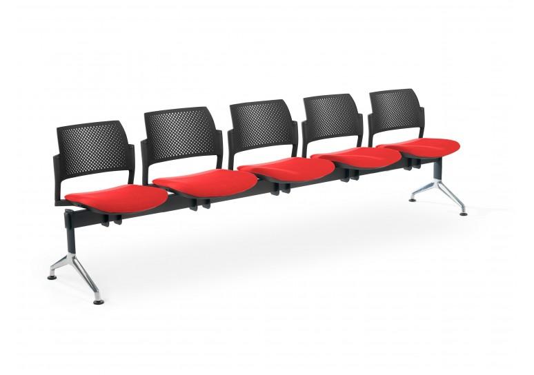 Bancada kyoto tapizada 5 asientos negro