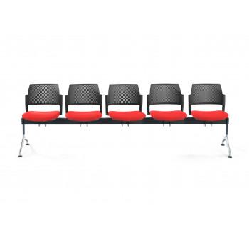 Bancada kyoto - Bancada sala de espera Kyoto tapizada 5 asientos negro - Imagen 2