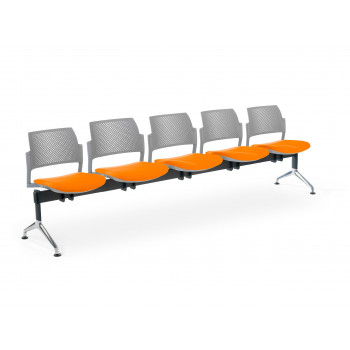 Bancada kyoto - Bancada sala de espera Kyoto tapizada 5 asientos gris - Imagen 1