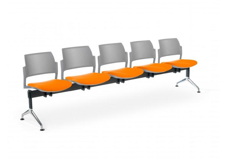 Bancada kyoto tapizada 5 asientos gris