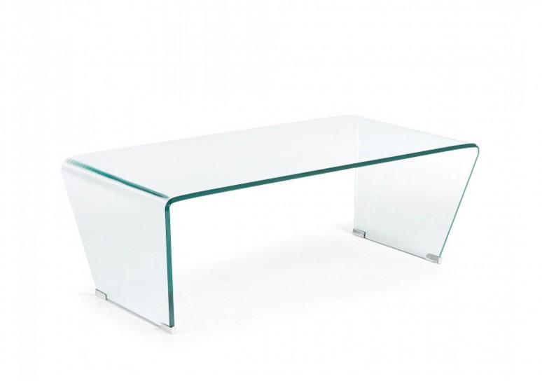 Mesa de centro cristal curvo