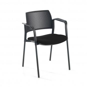 Kyoto - Silla confidente kyoto 4 patas con brazos tapizada negro - Imagen 1