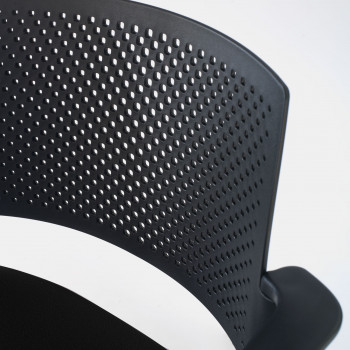 Kyoto - Silla confidente kyoto 4 patas con brazos tapizada negro - Imagen 2