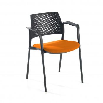 Kyoto - Silla confidente kyoto 4 patas con brazos tapizada naranja - Imagen 1
