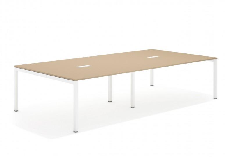 Kubika mesa de juntas doble 166 blanco
