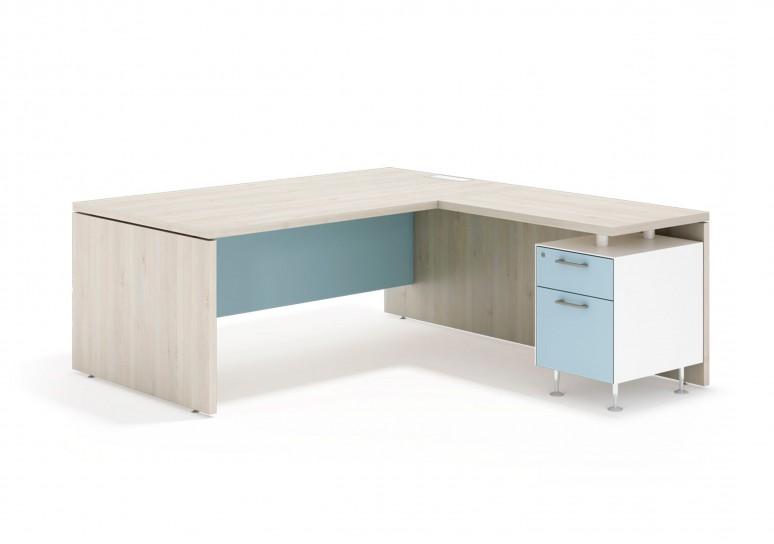 Manager mesa con ala buc cajon/archivo blanco