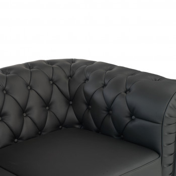Sofa chester - Sofa capitoné de recepción chester 3 plaza negro - Imagen 2