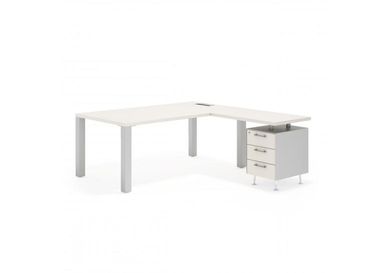 Quadra mesa con ala 3 cajones aluminio