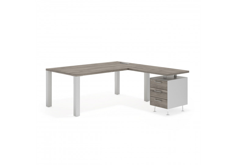 Quadra mesa con ala 3 cajones blanco