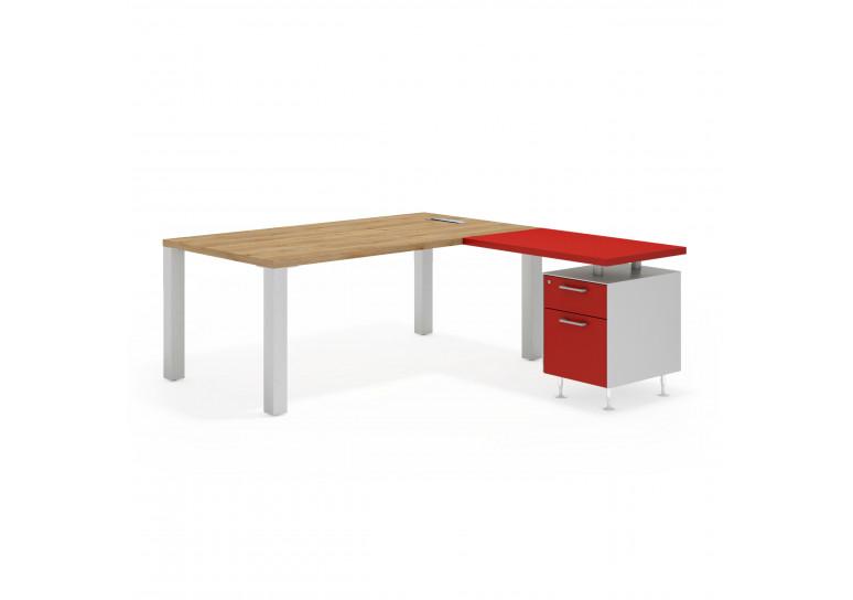 Quadra mesa con ala cajon/archivo aluminio