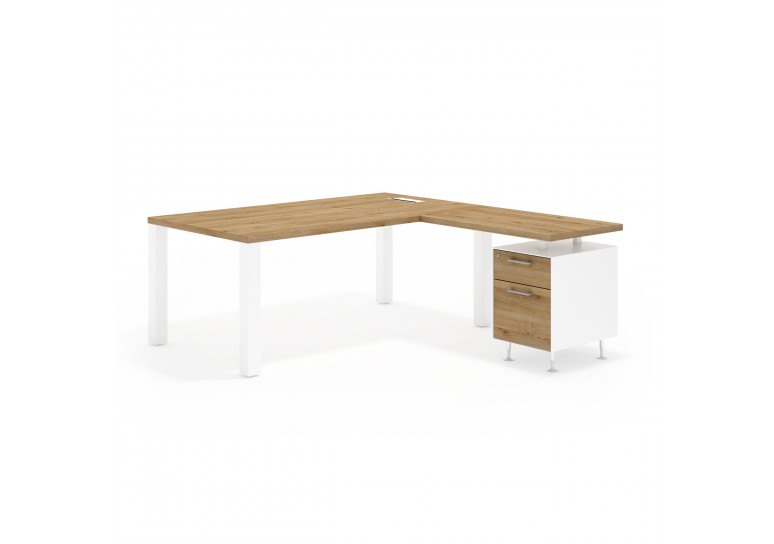 Quadra mesa con ala cajon/archivo blanco