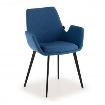 Elodie - Silla de visitas Elodie, 4 patas tapizado Azul - Imagen 1