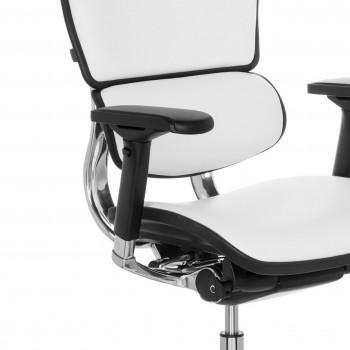 Keystone - Silla ergonómica Keystone, aluminio, sincro, reposacabezas, Piel Blanco - Imagen 2