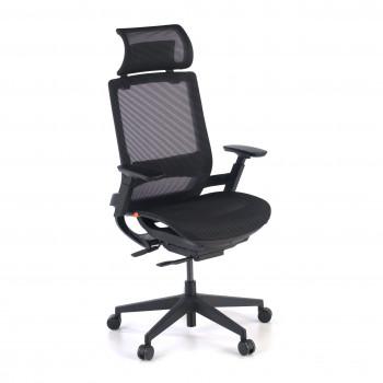 Goliath - Silla ergonómica de oficina con reposacabezas, brazos 3D, red Goliath negro - Imagen 1