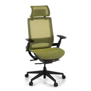Silla ergonómica de oficina con reposacabezas, brazos 3D, red Goliath Verde - Imagen 1