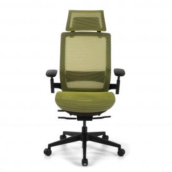 Silla ergonómica de oficina con reposacabezas, brazos 3D, red Goliath Verde - Imagen 2