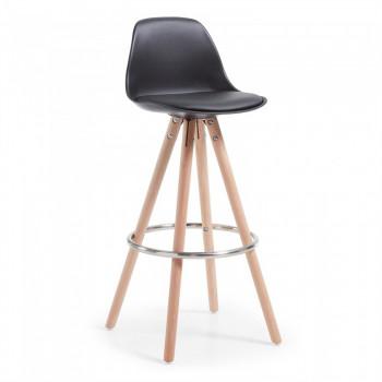 Nordic - Taburete de oficina Nordic, madera maciza, negro - Imagen 1