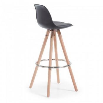 Nordic - Taburete de oficina Nordic, madera maciza, negro - Imagen 2
