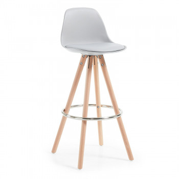 Nordic - Taburete de oficina Nordic, madera maciza, gris - Imagen 1