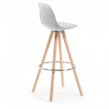 Nordic - Taburete de oficina Nordic, madera maciza, gris - Imagen 2