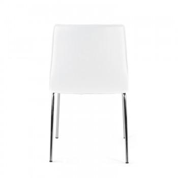 Cube - Silla confidente Cube 4 Patas estructura cromo ecopiel Blanco - Imagen 2