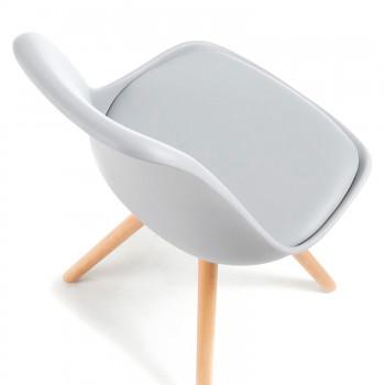 Nordic - Silla confidente de diseño Nordic, patas de madera, Gris - Imagen 2