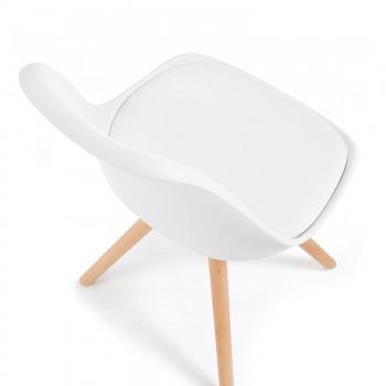 Nordic - Silla confidente de diseño Nordic, patas de madera, Blanco - Imagen 2