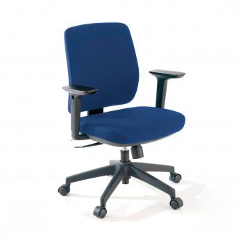 Wind - Silla de escritorio Wind, Respaldo Bajo Tejido Con Brazos Azul - Imagen 1