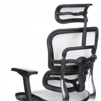 Keystone - Silla ergonómica Keystone, aluminio, sincro, reposacabezas Blanco - Imagen 2