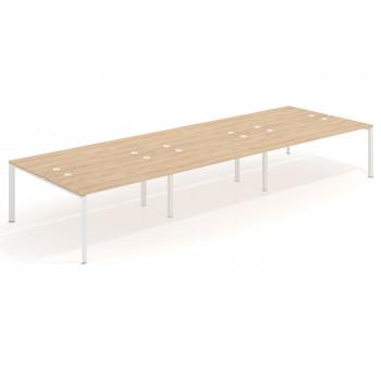 Link - Mesa multipuesto triple Link bench 166 estructura blanca - Imagen 1