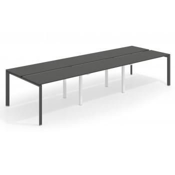 Link - Mesa multipuesto triple Link bench 126 estructura negro - Imagen 1