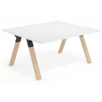 Uve - Mesa multipuesto Uve fondo 140 estructura madera - Imagen 1