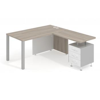 Meet - Mesa con ala meet y buc cajonera estructura aluminio - Imagen 1