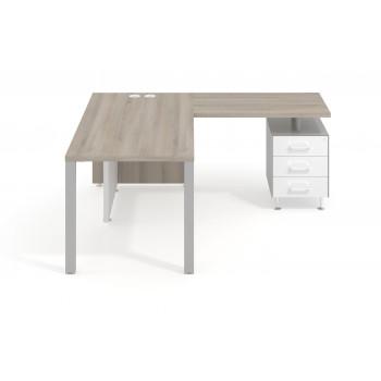 Meet - Mesa con ala meet y buc cajonera estructura aluminio - Imagen 2
