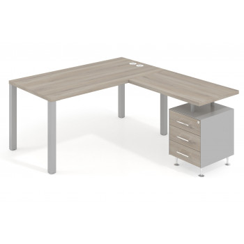 Quadra - Mesa de escritorio en L Quadra con cajonera estructura aluminio - Imagen 1
