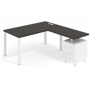 Quadra - Mesa de escritorio en L Quadra con cajonera estructura blanca - Imagen 1
