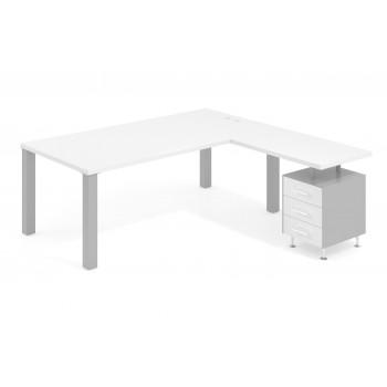 Quadra - Mesa de despacho en L Quadra con cajonera estructura aluminio - Imagen 1