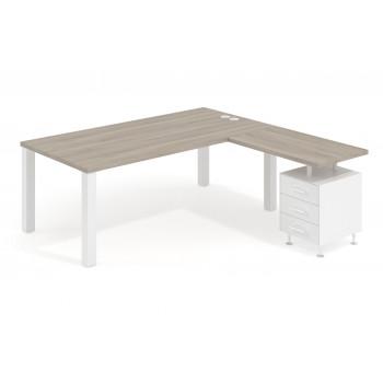 Quadra - Mesa de despacho en L Quadra con cajonera estructura blanca - Imagen 1