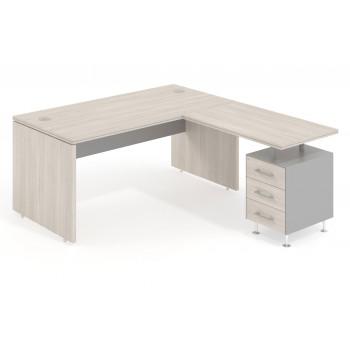 Work Uno - Mesa de oficina en L work uno con buc 3 cajones - Imagen 1